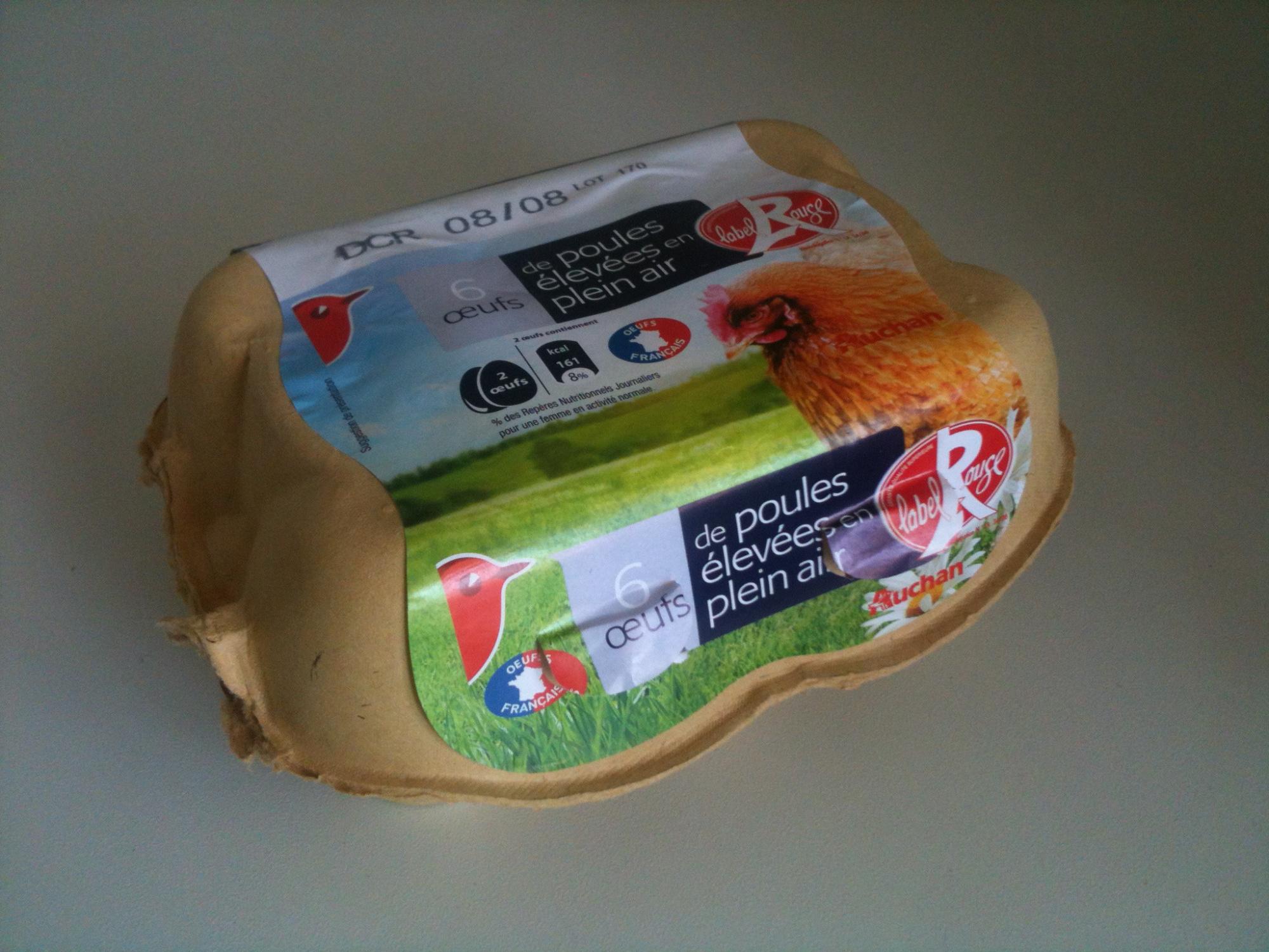 Oeufs de poules élevées en plein air (x 6) Label Rouge - Product