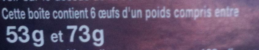 Oeufs de poules élevées en plein air (x 6) Label Rouge - Ingredients - fr