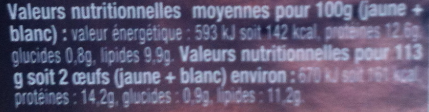 Oeufs de poules élevées en plein air (x 6) Label Rouge - Nutrition facts