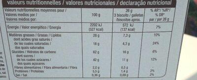 Assortiment de 40 Biscuits fins au chocolat belge - Informations nutritionnelles