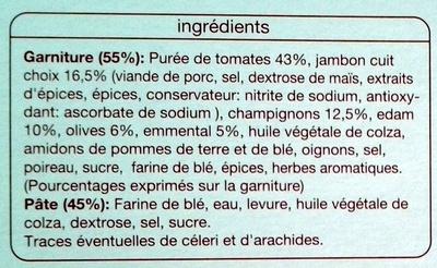 Pizza Royale, Cuite sur pierre (Jambon, champignons, fromages, olives) - Ingrédients