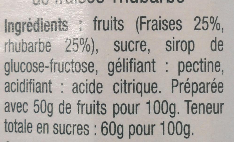 Confiture extra fraises rhubarbe - Ingrédients