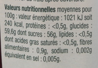 Confiture extra fraises rhubarbe - Informations nutritionnelles