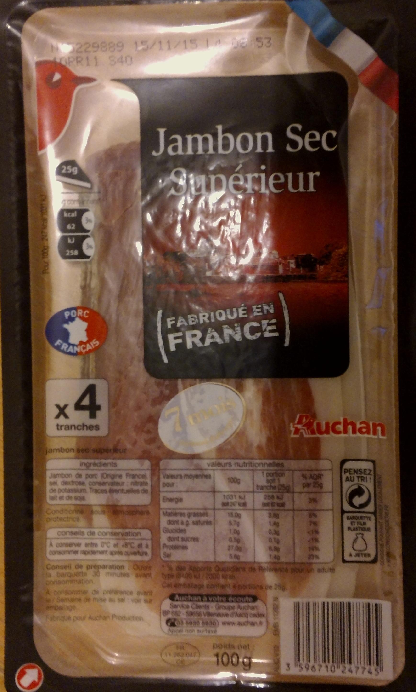 jambon sec sup rieur fabriqu en france auchan 100g 4 tranches. Black Bedroom Furniture Sets. Home Design Ideas