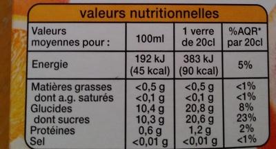 Fruits pressés 100% pur jus 3 agrumes - Informations nutritionnelles