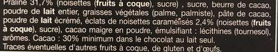 Chocolat lait fourre praliné aux éclats de nougatine caramélisées - Ingredients
