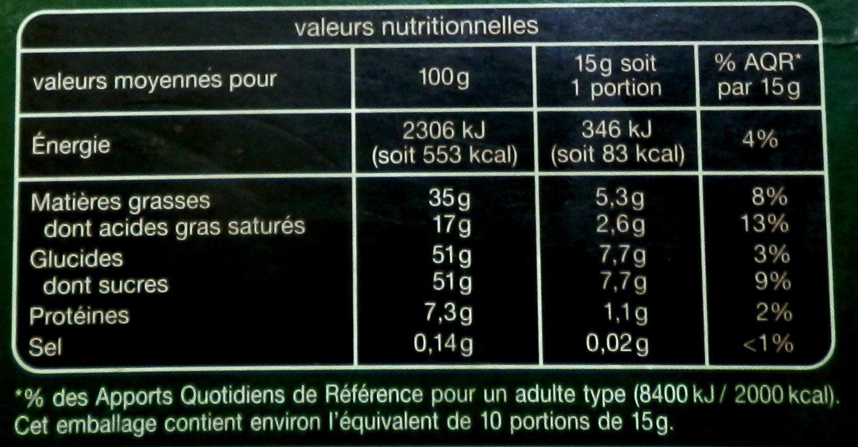 Chocolat lait fourre praliné aux éclats de nougatine caramélisées - Nutrition facts