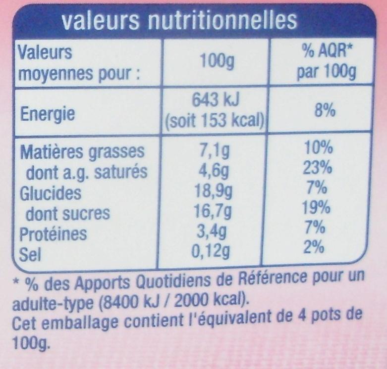 Liégeois au Café (4 pots) - Informations nutritionnelles - fr