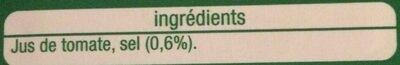 Jus de Tomate - Ingrédients - fr