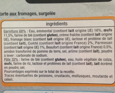 Tarte aux Fromages - Ingredients - fr