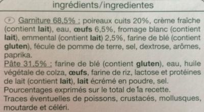 Tarte aux Poireaux - Ingrediënten - fr