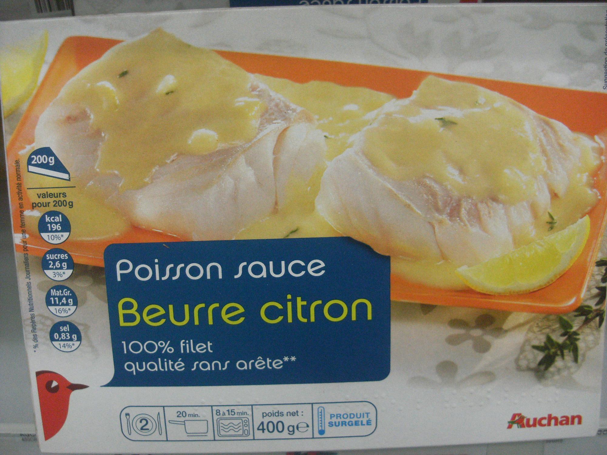 Poisson Sauce Beurre Citron Surgele Auchan 400 G 2 Portions