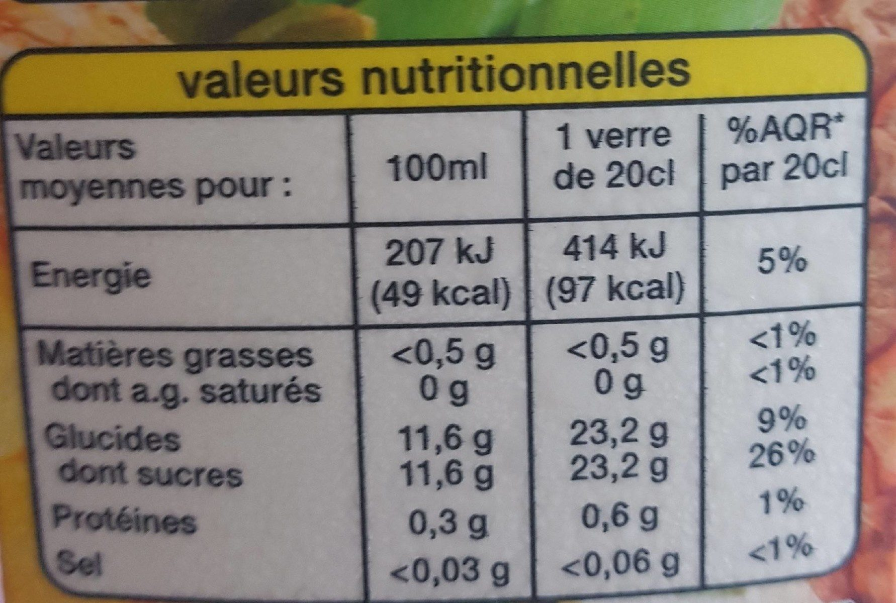 100 % Pur Jus Ananas - Nutrition facts - fr
