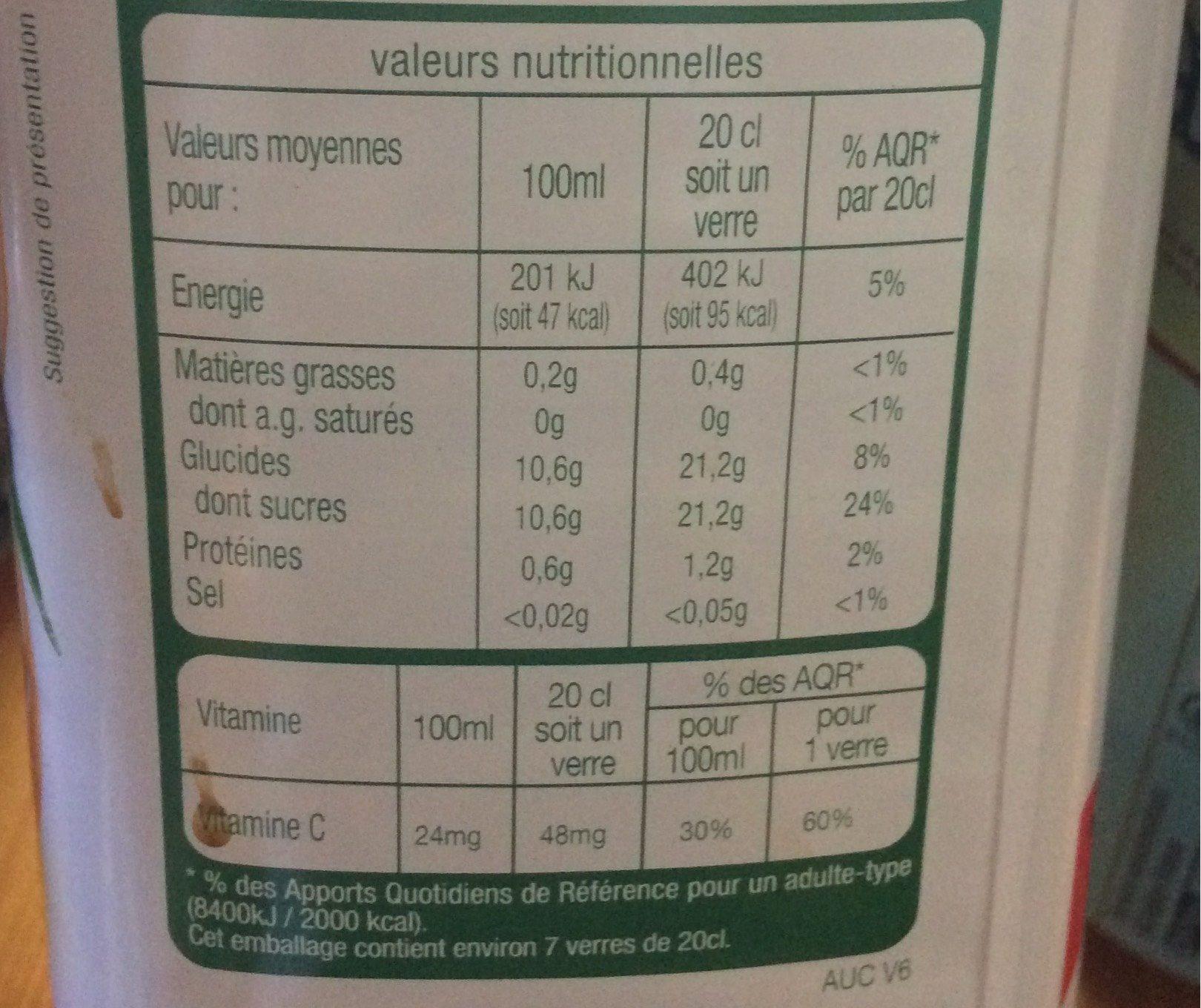 100% pur jus orange - Voedingswaarden - fr