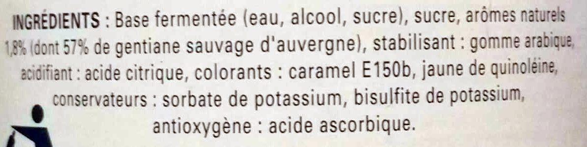Gentiane - Ingrédients - fr