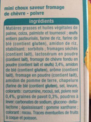 Mini choux goût fromage de chèvre - poivre - Ingredients