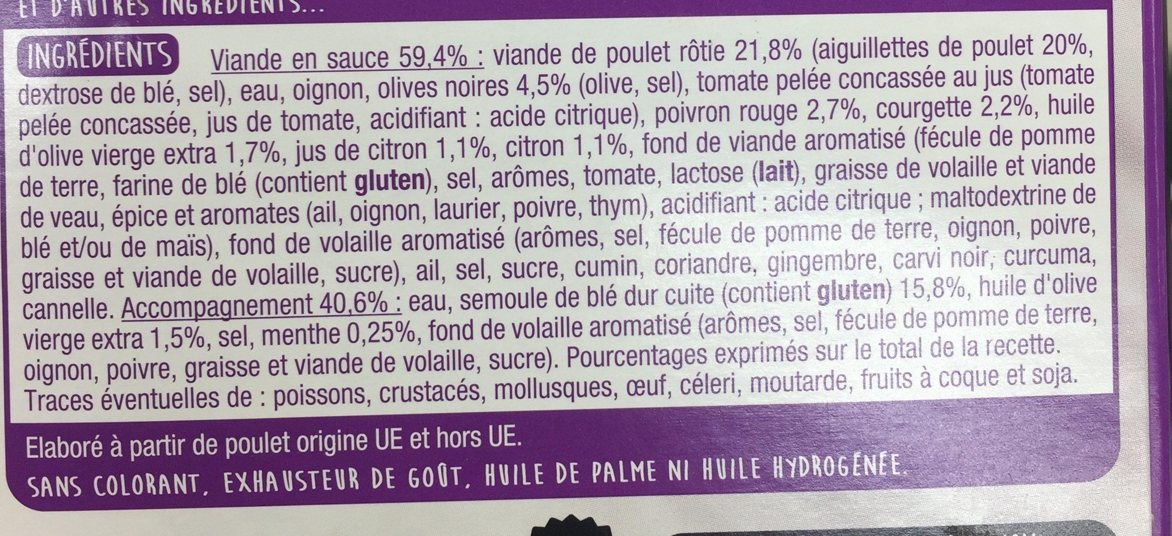 Tajine de Poulet aux Olives et au Citron et sa Semoule Parfumée à la Menthe - Ingrédients