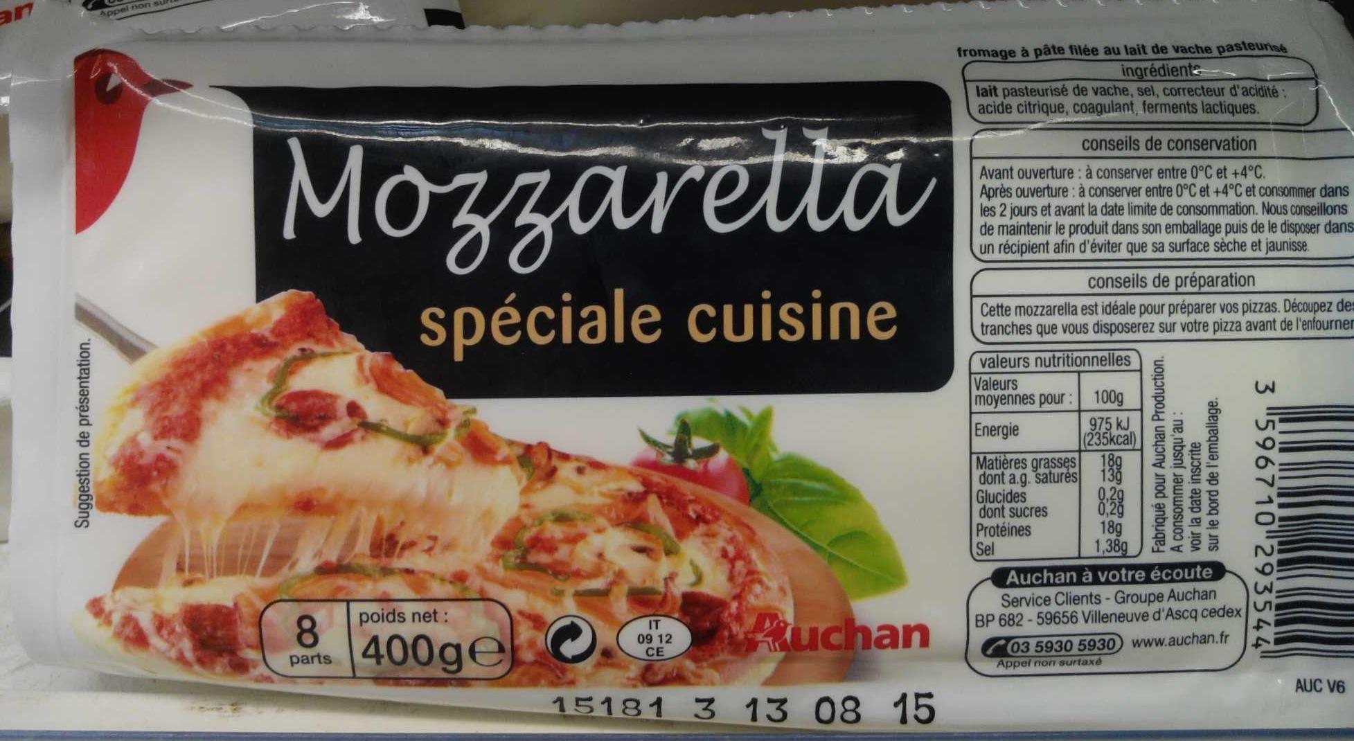 mozzarella sp ciale cuisine 18 mg auchan 400 g. Black Bedroom Furniture Sets. Home Design Ideas