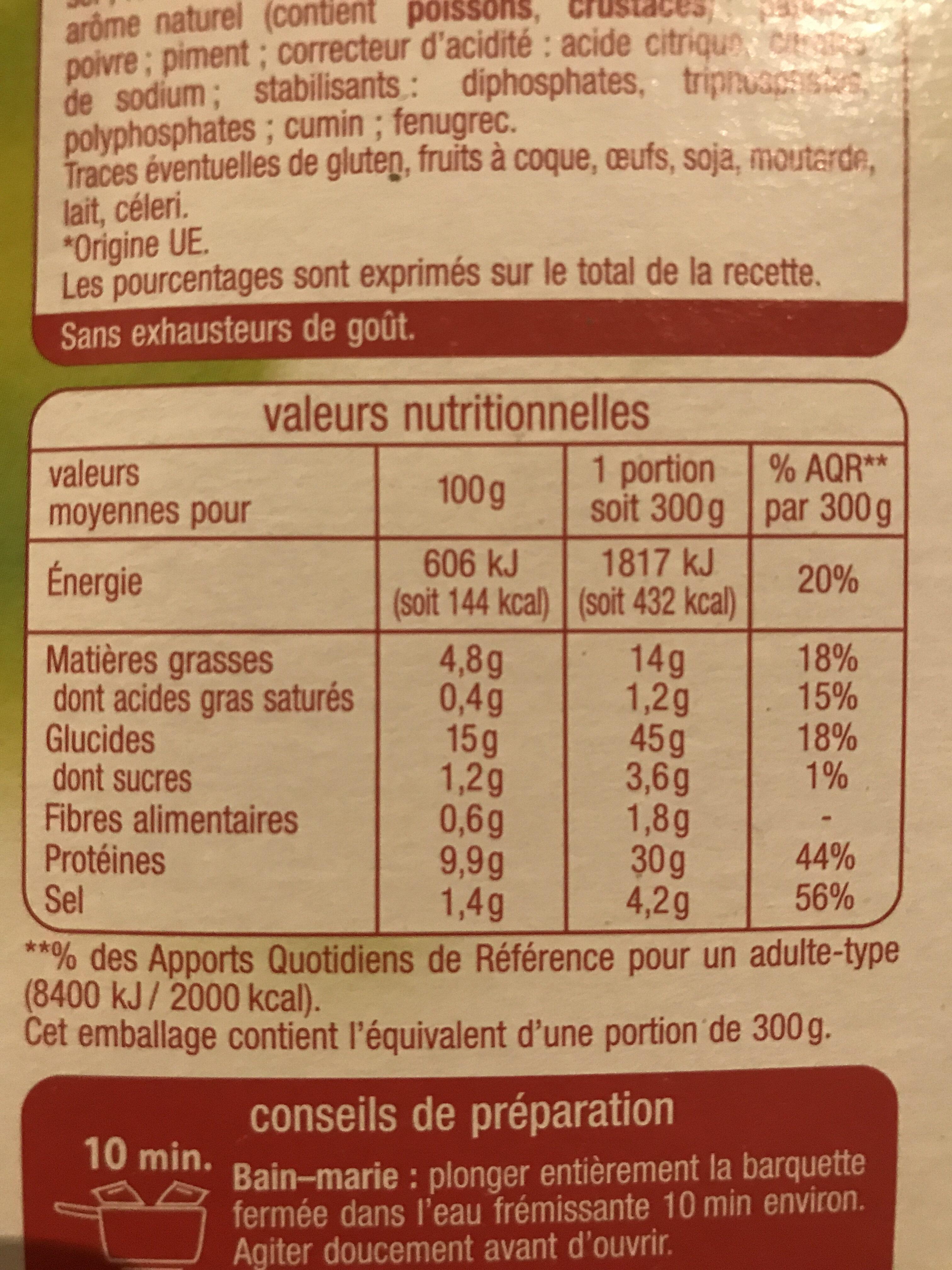 Paella Volaille et Fruits de mer - Informations nutritionnelles - fr