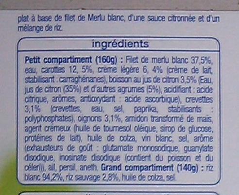 Filet de Merlu Blanc, sauce citronnée et son mélange de riz - Ingrediënten - fr