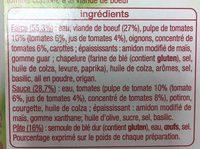 Lasagnes à la bolognaise - 300 g - Ingrédients