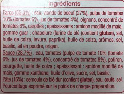 Lasagnes à la bolognaise - 300 g - Informations nutritionnelles