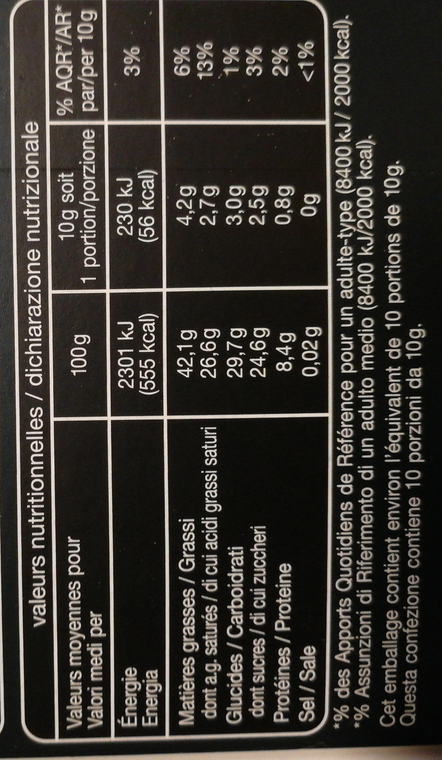 Noir Dégustation 72% - Nutrition facts