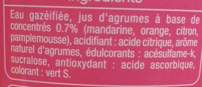 Soda Zero Agrumes - Ingrédients