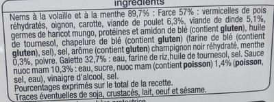 Nems volaille menthe sauce nuoc mam (8 nems + 3 sachets de sauce) - Ingredients - fr