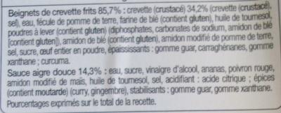 Beignets de crevettes sauce aigre douce (6 beignets + 1 sachet de sauce) - Ingrédients