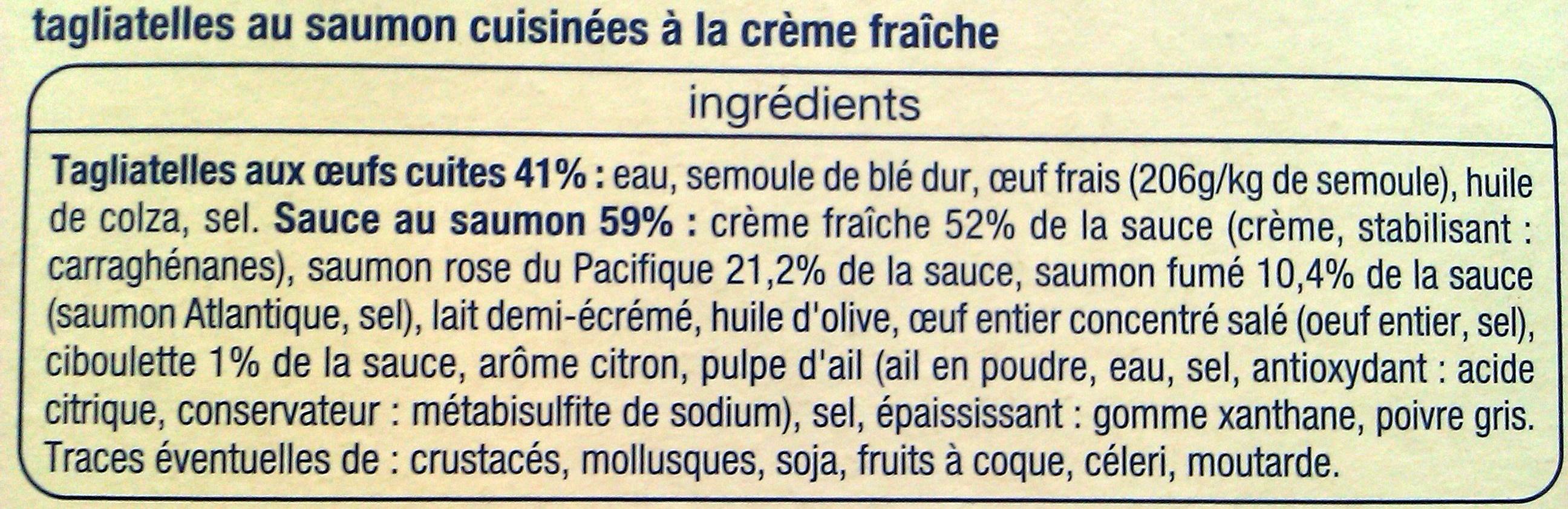 Tagliatelles Saumon - Ingredients