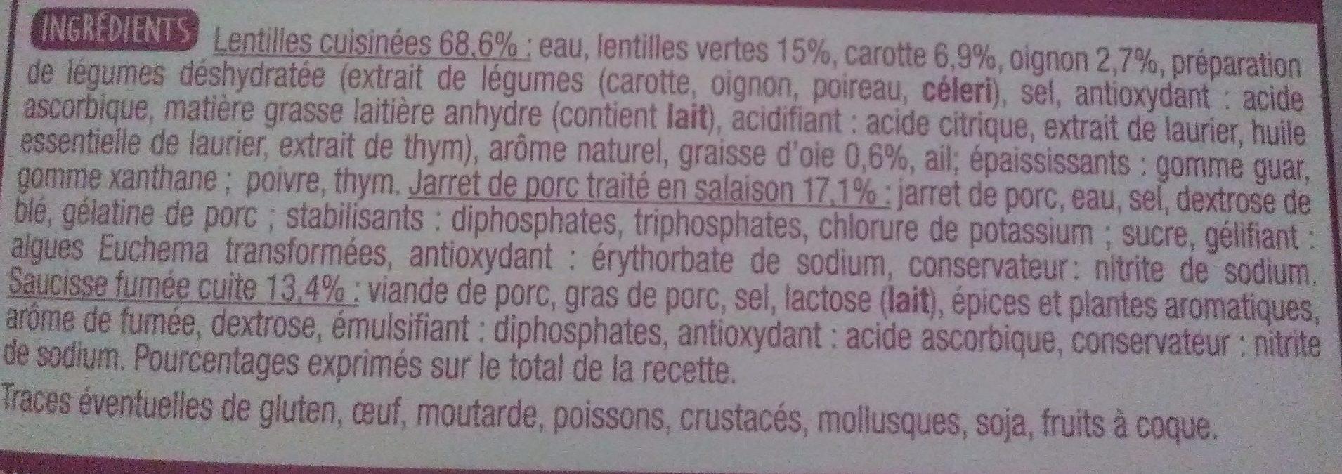 Petit salé aux lentilles - Ingrédients - fr