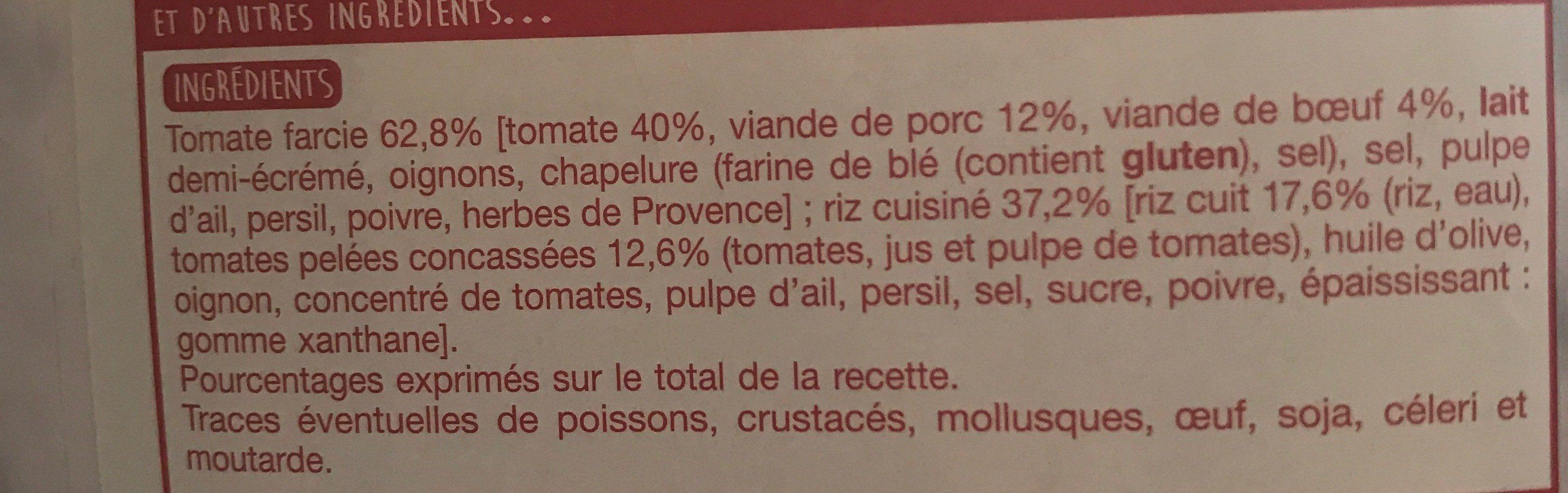 Tomates farcies et leur riz cuisiné - Ingrédients - fr