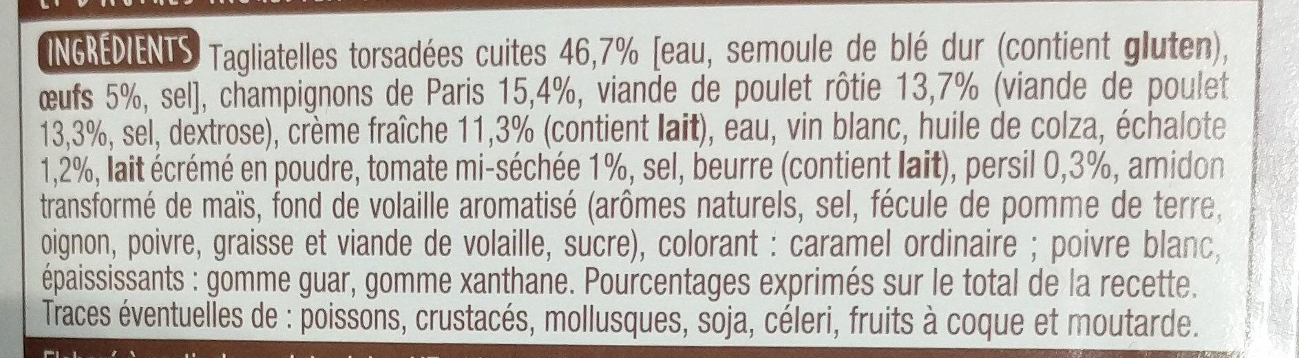 Tagliatelles au poulet et champignons - Ingrediënten - fr