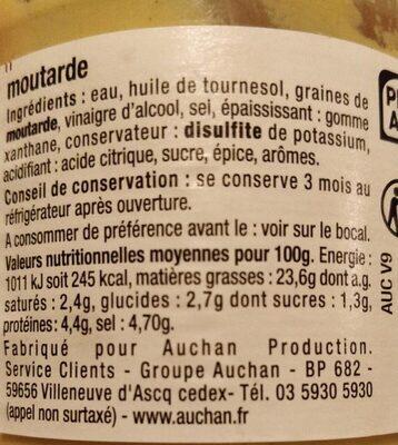 Moutarde mi-forte délicate - Nutrition facts - fr