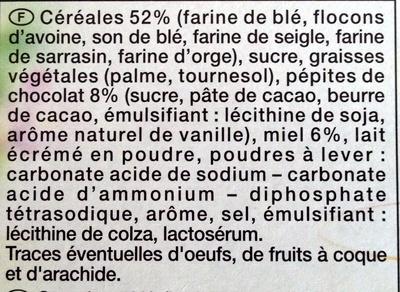 Biscuits Petit Déjeuner Pépites de Chocolat Miel - Ingrédients - fr