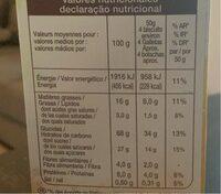 Biscuits Petit Déjeuner Pépites de Chocolat Miel - Informations nutritionnelles - fr