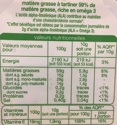 Matiere grasse a tartiner riche en omega 3 doux - Nutrition facts