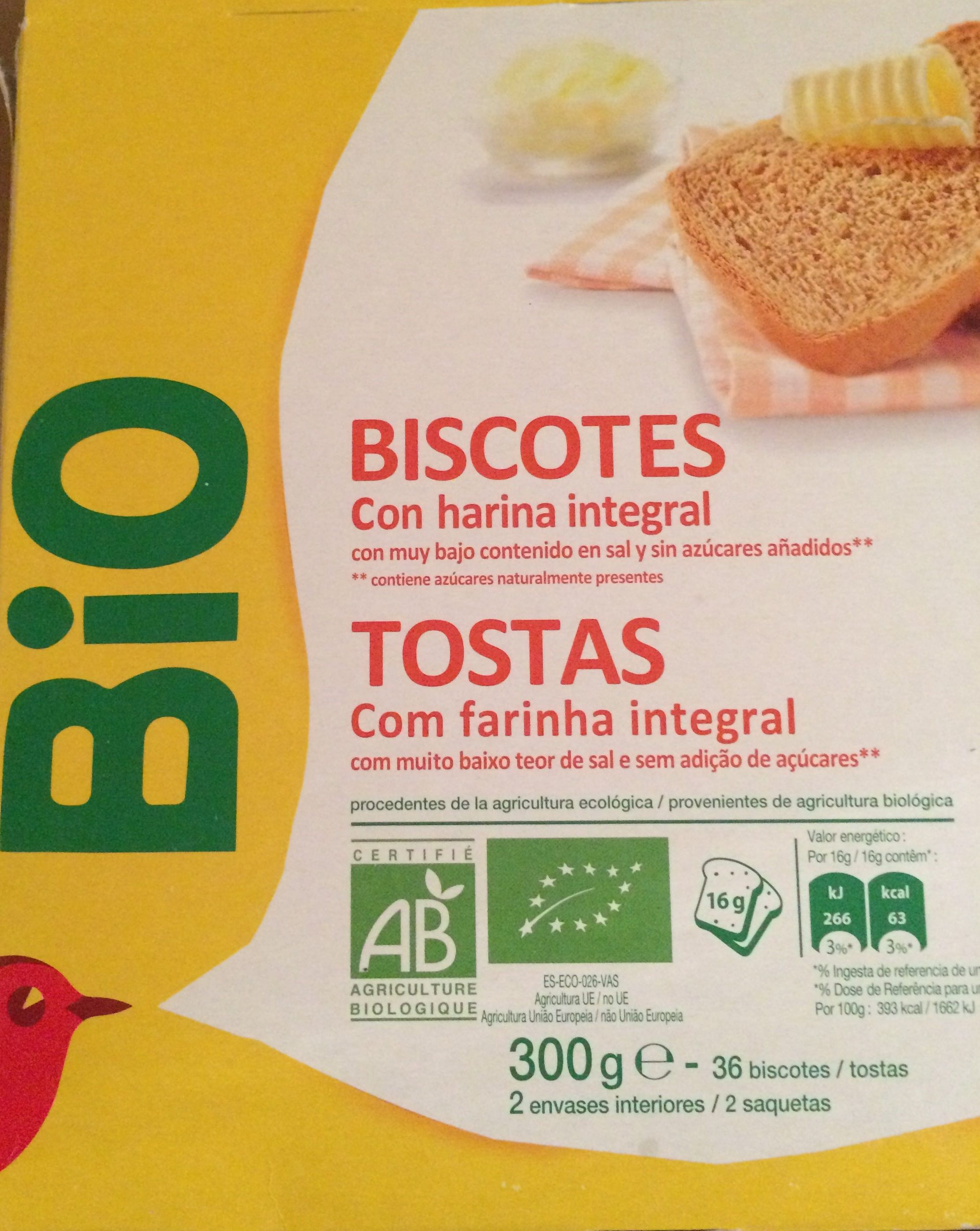 Biscottes à la farine complète - Producto