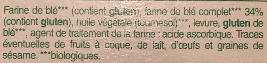 Biscottes bio farine complete tres pauvres en sel - Ingrédients - fr
