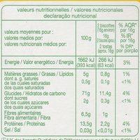 Biscottes a la farine complète - Información nutricional