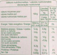 Biscottes bio farine complete tres pauvres en sel - Informations nutritionnelles - fr