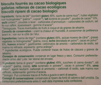 Goûters cacao - Ingrédients - fr