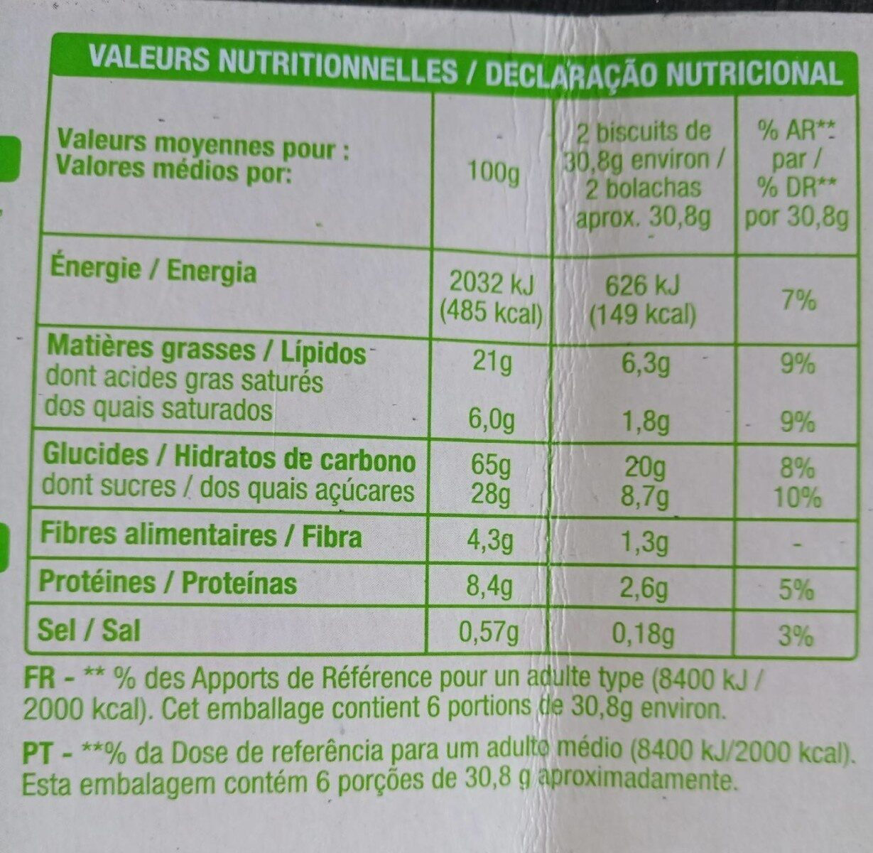 Goûters cacao - Informations nutritionnelles - fr