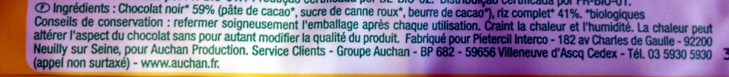 Galette de riz chocolat noir - Ingrediënten - fr