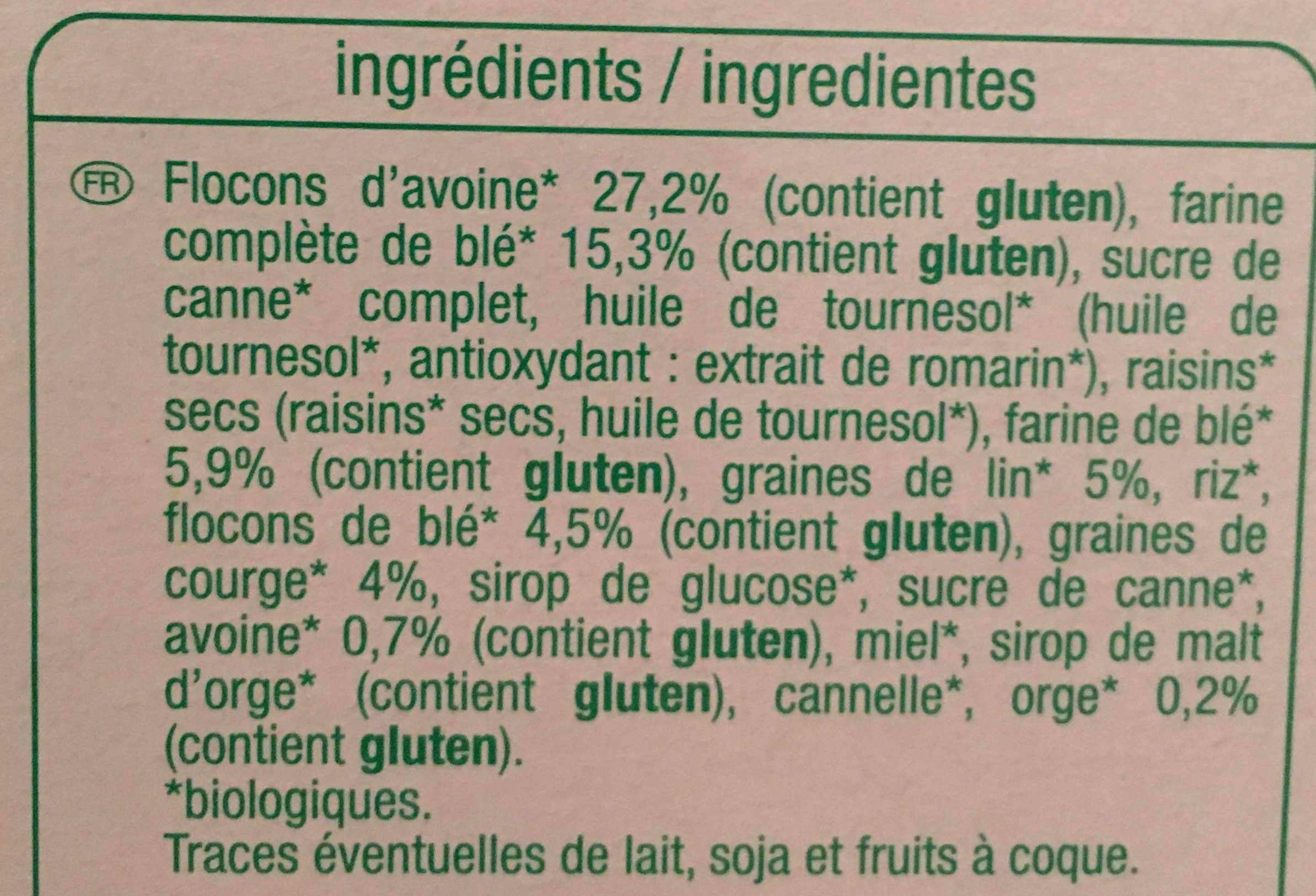 Muesli croustillant lin et graines de courges - Ingredients