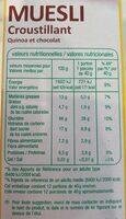 Muesli Croustillant Quinoa chocolat - Valori nutrizionali - fr