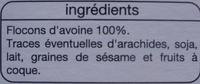 Flocons d'Avoine 100 % céréales - Ingrédients