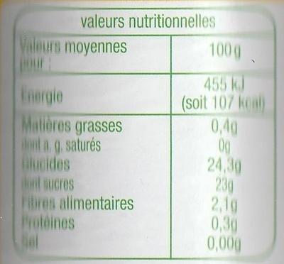 Compote de Pomme Poire avec morceaux - Informations nutritionnelles