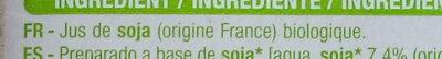 Boisson au soja nature Bio - Ingredienti - fr